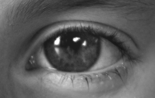 Black & white photo of human eye close up