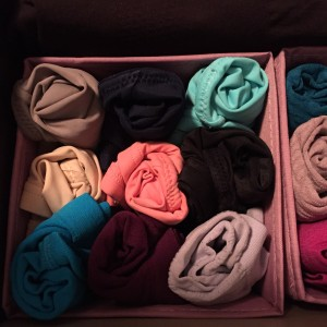 Colorful underwear rolled up and displayed in divided drawers